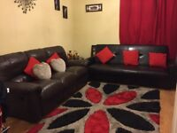 Excellent condition leather recliner sofa and a sofa bed for sale