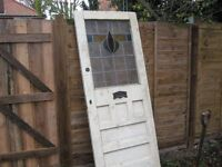"""1930;s coloured leaded glass front door 32""""x80"""" in good solid condition bargain £100"""