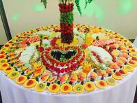 Fruit tree fruit display and chocolate fountain on wedding and all other event
