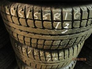 205/55R16 SET OF 4 USED UNIROYAL WINTER TIRES ON MAZDA 3 STEEL RIMS
