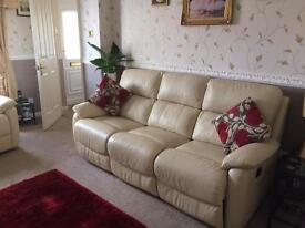 DFS Cream leather recliner sofas