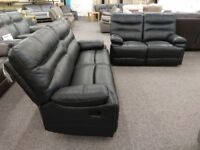 SCS Williams Black Leather 3 & 2 Seater Manual Recliner Sofas Can Deliver View Hucknall Nottm