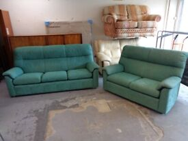 Parker Knoll 3 and 2 Seater Sofas in Green Fabric. Good Condition