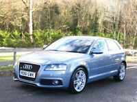2011/61 AUDI A3 2.0 TDI 170 QUATTRO 3dr S-LINE **1 P/Owner - FSH - Full Leather - Rare Pearl Blue**