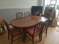 Vintage style dining room table with 6 chairs