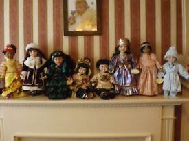 8 Porcelain Dolls , excellent condition