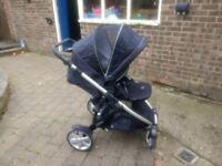 Britax B Dual Tandem with rain cover and car seat adaptors