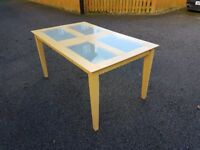 Frosted Glass & Wood Table FREE DELIVERY 028