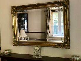 Large Antique Gold shabby chic ornate Decorative over mantle Gilt Wall Mirror - £50