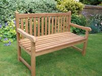 TEAK HARDWOOD GARDEN BENCH £165.00 NEW 1.3m /4ft3