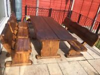 Half Price £425 - SOLID WOOD TABLE WITH BENCHES AND CHAIRS OUTDOOR,INDOR.GARDEN & PATIO FURNITURE