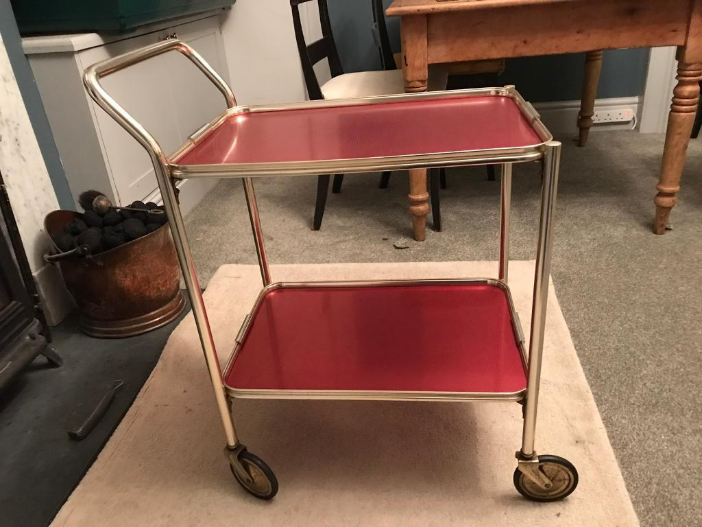 Retro Vintage Anodised Hostess Drinks Trolley Silver Pink