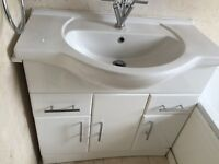 White Gloss Bathroom Vanity Unit with Sink and Mixer Taps