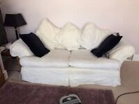 Comfy cream sofa with fully removable washable covers 2 -3 seater