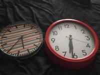 Large wall clock & Karlson clock in a tin