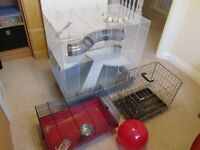 PET CAGE AND TRAVEL CAGE AND PLAY BALL