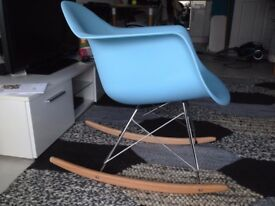Charles Eames Style RAR Plastic Rocking Chair - Blue