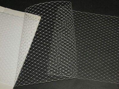 "White birdcage bridal veil netting french bird cage 20"" hat net veiling"