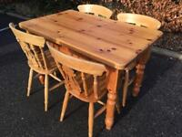 Solid pine farmhouse table and chair set. Delivery Possible