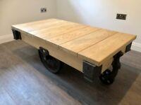 Indigo Oak Mill Cart Coffee Table - As New - Less Than Half The Original Price