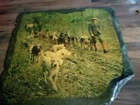 For sale vintage hunting scene on foot on a slate