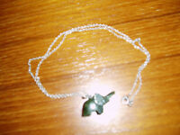 Jade Elephant Pendant on Silver Chain