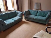 Comfy stylish teal green sofas couches