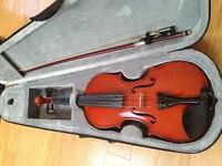 1/2 size fiddle, bow and case