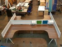Desks!!! 4 People Dark Wooden Vaneer Modern Design Office Workstation Layout 20 Available