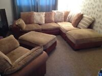 Corner sofa, Arm Chair and 2 Ottomans Brown Leather and Fabric