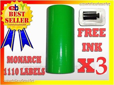 3 Sleeves Fluorescent Green Label For Monarch 1110 Pricing Gun 3 Sleeves48rolls