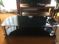 """TV Stand for up to 50"""" TV. In black glass *Excellent Condition*"""