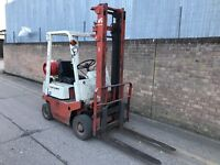 Nissan 1 ton gas forklift, solid tyres, good runner