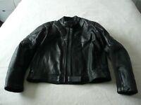 Men`s Black Leather Motorcycling Jacket.