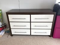 Matching chest of drawers and bedside drawers