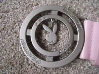 "Brand new without tags - ladies girl Pink Rabbit Belt with round silver buckle 28 - 32"" waist approx"