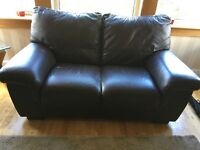 Leather 2 & 3 seater sofas - chocolate brown, excellent condition, must be seen