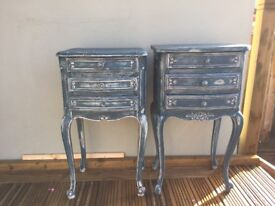 Pair of shabby chic french style bedside/living room tables