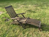 Hardwood reclining Steamer Garden Chair