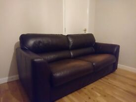 3- seater Brown Italian Leather suite.