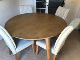 Dining wood table & 4 leather chairs