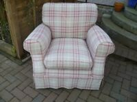 Laura Ashley Padstow Armchair with Keynes Cranberry Loose Cover-VGC