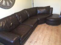 Set of 2 brown leather sofas(1 corner sofa & 1 sofa bed)