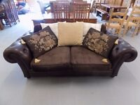 Beautiful Brown Leather & Fabric Tetrad Chesterfield Style 2 Seater Sofa