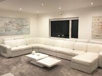 White Leather Corner Sofa by Denelli Italia 'Granada' - XX Large - Great Condition