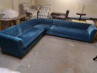 Hand Made Brand New Dark Blue Corner Sofa