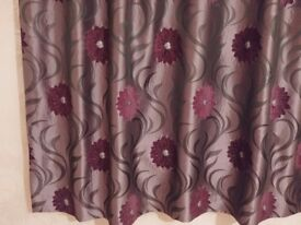 Pair of purple flower lined curtains, nearly new.