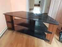 Black and chrome glass 55 inchTV stand