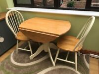 90cm circular folding table and 2 chairs