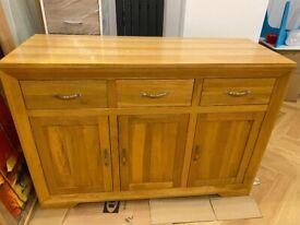 Natural Solid Oak Large Sideboard from Oak Furniture Land - Bevel range
